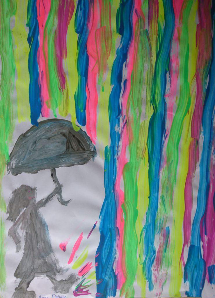 Schildering Van Ilona behorende bij haar verhaal over dansen in de regen, haar verhaal over het overwinnen van haar depressiviteit.